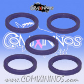 Skill Markers - Set of 5 Purple Rubber Deluxe Rings for 25 mm Bases - Comixininos