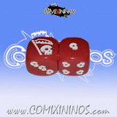 Set of 2d6 Undead Dice Opaque Red with White Internal Drawings - Akaro