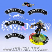 Set of 4 Black Dirty Player Puzzle Skills for 32 mm GW Bases - Comixininos
