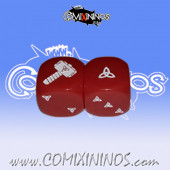 Set of 2d6 Norse Dice nº 3 Red - Akaro