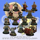 Dwarves - Dwarf Team of 15 Players with Steamroller - SP Miniaturas