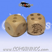 Set of 2d6 Dwarf Dots Dice - Wooden