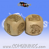 Set of 2d6 Dwarf Numbers Dice - Wooden