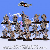Dwarves - Resin Complete Dwarf Team of 16 Players with Steamroller  - Fanath Art