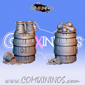 Metal Set of 2 Beer Barrel Bloodweiser Dwarf Tokens - Fanath Art