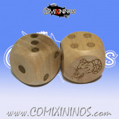 Set of 2d6 Evil Beastman Dots Dice - Wooden