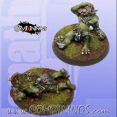 Set of 2 Prone / Stunned Troll Tokens - Fanath Art