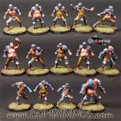 Humans - Fat Bastards Human Team of 14 Players with Ogre - Meiko Miniatures
