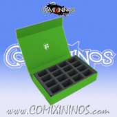 Green Color Magnetic Box of One Floor for 16 Blood Bowl Miniatures with 32 mm Bases - Feldherr