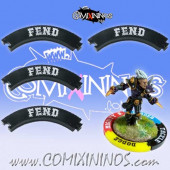 Set of 4 Black Fend Puzzle Skills for 32 mm GW Bases - Comixininos
