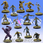 Frogmen - Deep Ones Frogmen Team of 13 Players with Big Guy - SP Miniaturas