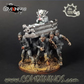 Undead / Vampires - Set of 6 Covid Funeral Zombie Dancers with 3 Optional Coffins - Meiko Miniatures