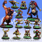 Goblins - Team of 12 Players with Two Trolls - Meiko Miniatures