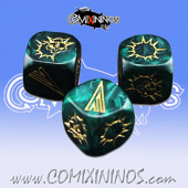 Set of 3 Green Block Dice - Iron Golems