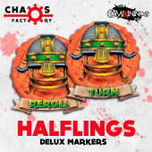 Set of 2 Delux Halfling Reroll and Turn Counters - Chaos Factory