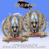 Set of 2 Delux High Elf Reroll and Turn Counters - Chaos Factory