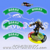 Set of 4 Green Horns Puzzle Skills for 32 mm Bases - Comixininos