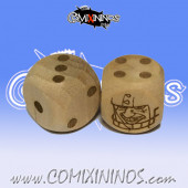 Set of 2d6 Human Dots Dice - Wooden