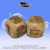 Set of 2d6 Human Numbers Dice - Wooden