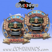 Set of 2 Delux Human Reroll and Turn Counters - Chaos Factory