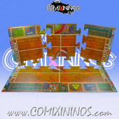 29 mm Indoor Pitch with Dugouts - Puzzle-like Joint Hard Cardboard - Comixininos