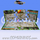 29 mm Lustria Jungle Pitch with Dugouts - Puzzle-like Joint Hard Cardboard - Comixininos