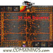 34 mm Lava Plastic Gaming Mat with Crossed Dugouts - Comixininos