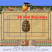 34 mm Egyptian Tomb Kings Plastic Gaming Mat with BB7 and Parallel Dugouts - Comixininos