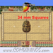 34 mm Egyptian Tomb Kings Plastic Gaming Mat with Parallel Dugouts - Comixininos
