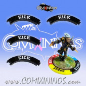Set of 4 Black Kick Puzzle Skills for 32 mm Bases - Comixininos