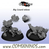 Set of 2 Prone / Stunned Tokens for Lizardmen Big Guy - Fanath Art