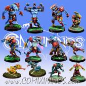 Lizardmen - Team of 12 Players with 2 Chameleons - Meiko Miniatures