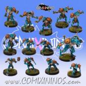 Lizardmen - Lizardmen Team of 13 Players with Big Guy - Txarli Miniatures