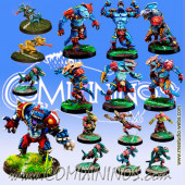Lizardmen - Complete Team of 16 Players with Kroxi and 2 Chameleons - Meiko Miniatures