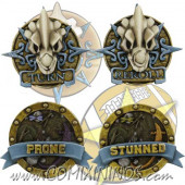 Set of 4 Prone Stunned Kroxigor and Turn Reroll Lizardmen Tokens - SP Miniaturas