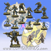 Lizardmen - Team of 15 Players with Big Guy and 2 Chameleons - SP Miniaturas