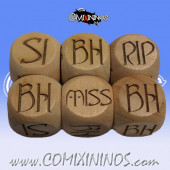 1d6 Meiko Elvish Injury Dice Large Size 20 mm - Wooden