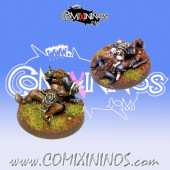 Set of 2 Prone / Stunned Minotaur Tokens - Fanath Art