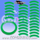 Set of 30 Green Mutation Puzzle Skills with No Text for 32 mm GW Bases - Comixininos