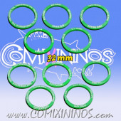 Set of 10 Mutation Skill Rings for 32 mm Bases - Green