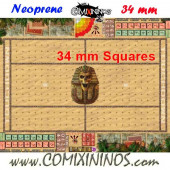 Egyptian Tomb Kings Neoprene Mousepad Pitch of 34 mm Squares WITH Dugouts - Comixininos
