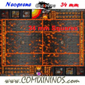 Lava Neoprene Mousepad Pitch of 34 mm Squares WITH Dugouts - Comixininos