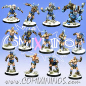Norses - Resin Norse Team of 13 Players with Snow Troll - Meiko Miniatures
