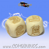 Set of 2d6 Norse Numbers Dice - Wooden