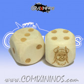 Set of 2d6 Norse Dots Dice - Wooden