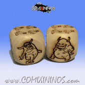 Set of 2d6 Rotten Dice - Wooden