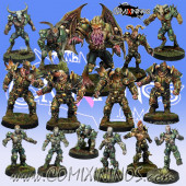 Rotten - Resin Lords of Corruption Team of 15 Players with Winged Rotten Beast - Willy Miniatures