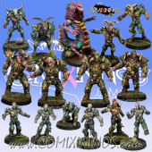 Rotten - Resin Lords of Corruption Team of 15 Players with Worm Rotten Beast and Baby Worm - Willy Miniatures