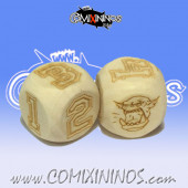Set of 2d6 Orc Numbers Dice - Wooden