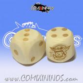 Set of 2d6 Orc Dots Dice - Wooden